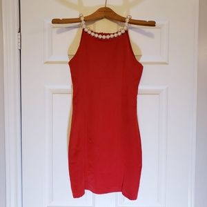 Dresses & Skirts - PEARL NECKLACE RED HIGH NECK FITTED MINI DRESS S